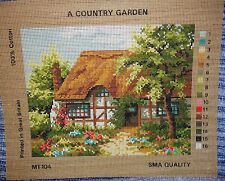 NEEDLEWORK TAPESTRY CANVAS COUNTRY GARDEN THATCH COTTAGE STITCH TIMBER FRAME