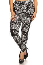 Plus Size Leggings XL-3X White Gray Snowflake Print on Black Polyester Spandex