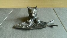 Metal Cat & Fish Dresser Top Trinket Tray - Very Unique Piece For Cat Collectors