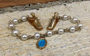 Vintage Religious Sweater Clip-blue enamel Miraculous Mary Medal-antique-Brass