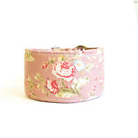 "1.5"" or 2"" Martingale Dog Collar VINTAGE PINK ROSE Greyhound Whippet Lurcher"