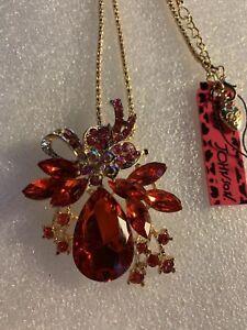 Betsey Johnson RED MULTI Golden Rhinestone Crystal flower necklace-BJ40193