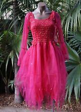 Women's Fairy Dress Costume with Sleeves & Wings--Fuchsia Princess