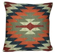 Hand Woven Wool Jute Kilim Cushion Cover 18x18 Indian Vintage Pillows Boho 1052