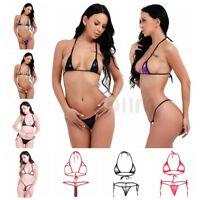 Sexy Women Lingerie Set Micro Halter Top Bra Bikinis Tie Side G-string Swimwear