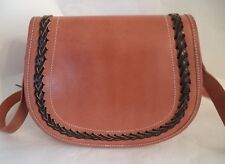 BROWN LEATHER SATCHEL BAG HANDBAG SOLID BODY