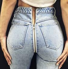 Womens Back Zip Up Light Blue Denim Jeans Pants Stretchy Sexy Trousers Fashion