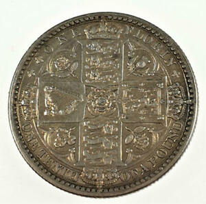 1849 EF Godless Queen Victoria Silver Florin Two Shillings
