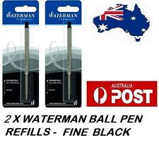 2 X WATERMAN BALLPEN BALL POINT PEN REFILL REFILLS FINE BLACK NEW MADE IN FRANCE