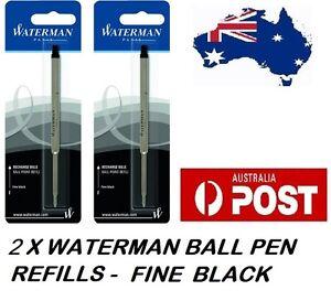 2 X WATERMAN BALLPEN BALL POINT PEN REFILL REFILLS FINE BLACK NEW MADE IN FRANCE