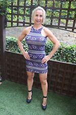 GORGEOUS BLUE FLORAL PRINT BODYCON STRETCH COCKTAIL PARTY MINI DRESS ~ UK 12
