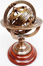 Armillary Brass Sphere Astrolabe On Wooden Base Maritime Nautical & Collectible