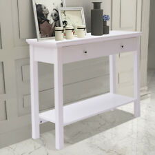 Hallway White 2 Drawer Side Console Table Storage Dressing Desk Kitchen Shelf UK
