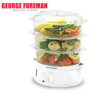 George Foreman 3-Tier Food Steamer - White/Clear