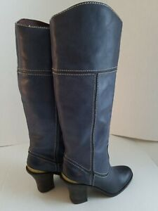 LUCKY BRAND BLUEGRAY WHITE STITCHING BOOTS 6M