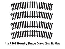 4x R606 Hornby 00/H0 escala Tren Modelo Ferrocarril Pista single CURVADO 2º