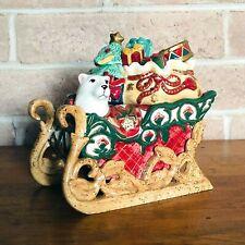 Fitz & Floyd Classics Sleigh Cookie Jar Polar Bear Christmas Tidings C87  00006000