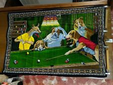1970s original dogs playing pool tapestry