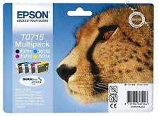 """ORIGINALE Epson t0715 CARTUCCIA INCHIOSTRO """"GHEPARDO"""" Multipack"""