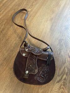 Western Saddle Purse Leather Crossbody HORSE Equestrian Miniature Brown