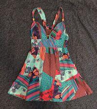 GUESS Sexy Mini Silk Print Plunge Dress in Aqua Purple Pink Size 3 Fits 0 XS