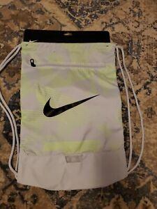 NWT Nike Brasilla Printed Training Drawstring Bag Gray with Neon Green