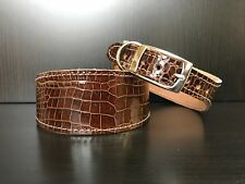 S/M Leather Dog Collar LINED Greyhound Whippet SHINY BROWN REPTILE PATTERN