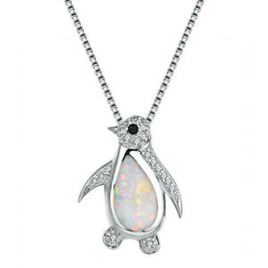 Fashion Silver Penguin White Simulated Opal Pendant Necklace Wedding Jewelry