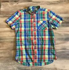 Adidas 2014 Sample S/S Button Up Colorful Plaid Sport Dress Shirt Mens Medium M