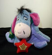 "Disney Store Eeyore Mini Bean Bag Micro-Fiber Plush 2001 Scarf Star Christmas 7"""
