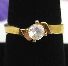 Big SOLITAIRE Cubic Zirconia CZ  RING Vintage Goldtone Size 9 1/2 Brilliant Cut