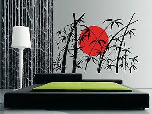 BAMBOO & RISING SUN Wall Art Sticker, Decal, Mural, Oriental Design in 3 x sizes