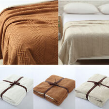 Knitted Blankets Cotton Velvet Throw Sofa Cover Office Warm Blanket Solid Color