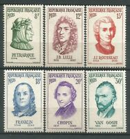 FRANCE 1956 Série Personnages étrangers  N° 1082 à 1087 neufs ★★ Luxe /MNH