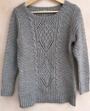 Ladies Grey Cable Knit Jumper Size 12 M&S<NH3630