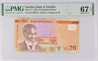 Namibia 20 Dollars 2015 P 17 Superb Gem UNC PMG 67 EPQ