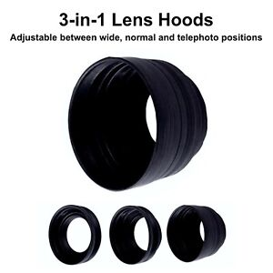 72mm Rubber Collapsible 3 in 1 Lens Hood Wide Normal Tele Photo DSLR Camera