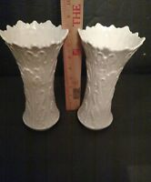Lenox China Woodland Ivory Porcelain Vase Embossed Leaf Design / lot of 2