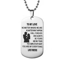 To My Love Forever Military Army Style Dog Tag Mens Pendant Necklace Chain