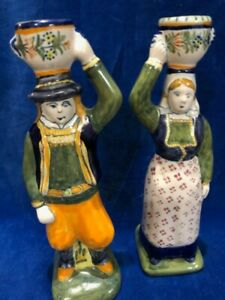 QUIMPER POTTERY PAIR OF FIGURAL CANDLESTICKS
