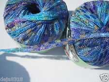 Knitting Fever Macao Ribbon Yarn 3 skeins Col 514 Blue, Purple, Turquoise