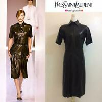 YVES SAINT LAURENT DRESS LEATHER WOMEN LADIES AUTHENTIC SIZE 36 USED F/S