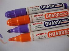 4 x ZEBRA grande LAVAGNA secco cancellare MARKER PENNE BULLET suggerimento-violet & Arancione