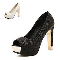 Womens Sexy Peep Toe Platform Pumps Stiletto High Heels Sandals Waterproof Shoes