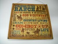 Welcome to the Ranch Gods Country Cowboys Western Decor Wooden Wall Art Sign
