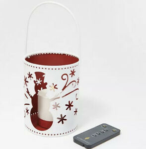 Luminara Indoor/Outdoor Holiday Pail with Flameless Votive & Remote - Snowman