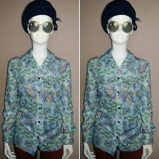 Vintage 1970's Blue Long Sleeved Paisley Shirt by Damart. Size 22.