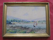 """Belle aquarelle début du 20 é siécle """"jeunes femmes les pieds dans l'eau """""""