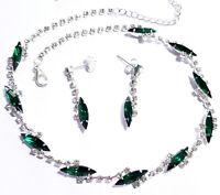 Necklace Choker Earrings Set Rhinestone Green