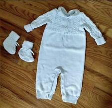 Ralph Lauren Baby Layette Cotton Knit 3-Piece Sweater Set; Romper, Booties, Hat